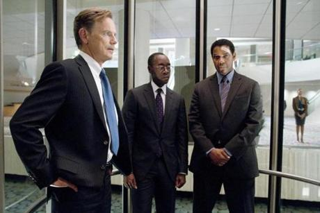 "From left: Bruce Greenwood, Don Cheadle, and Denzel Washington in a scene from Robert Zemeckis's new drama, ""Flight."""